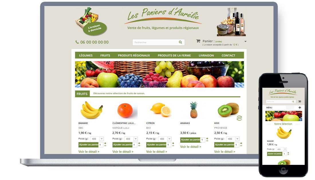 Boutique en ligne de vente de produits frais / bio et produits régionaux - Site e-commerce Prestashop