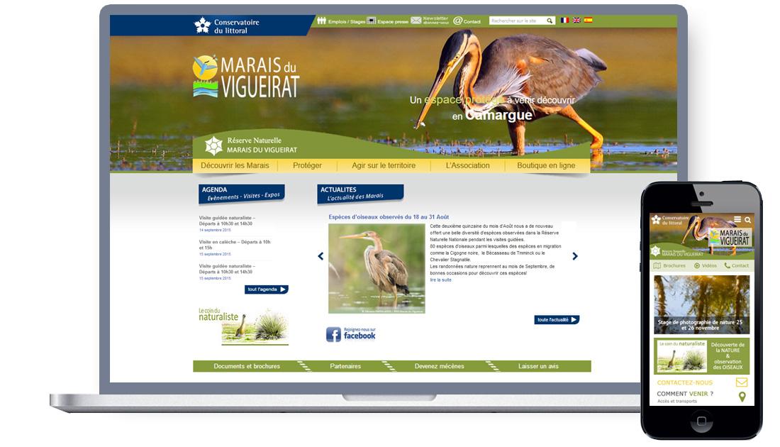 Site web tourisme nature, site mobile - Les Marais du Vigueirat, Camargue