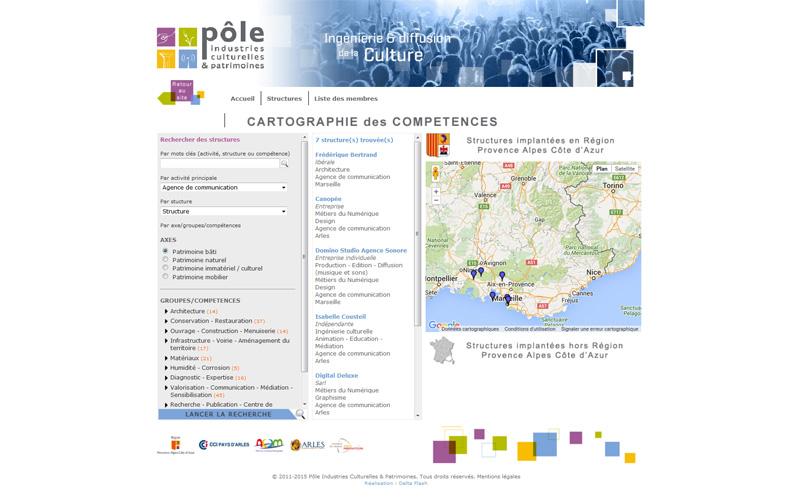 Cartographie Google Maps API pour le Pôle Industries Culturelles & Patrimoines à Arles