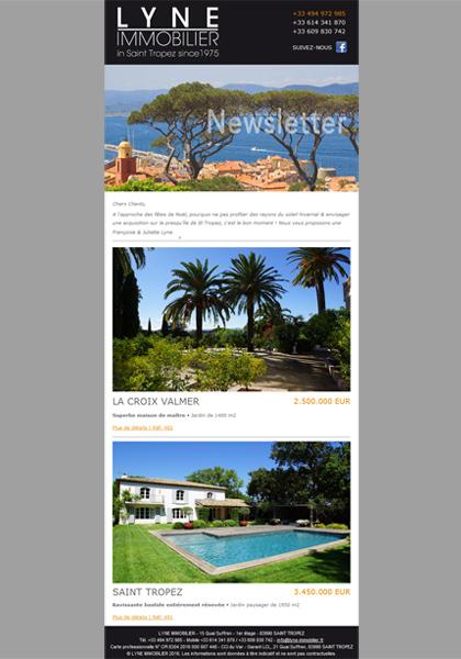 Création du modèle personnalisable de la newsletter pour une agence immobilière (texte et sélection des annonces).