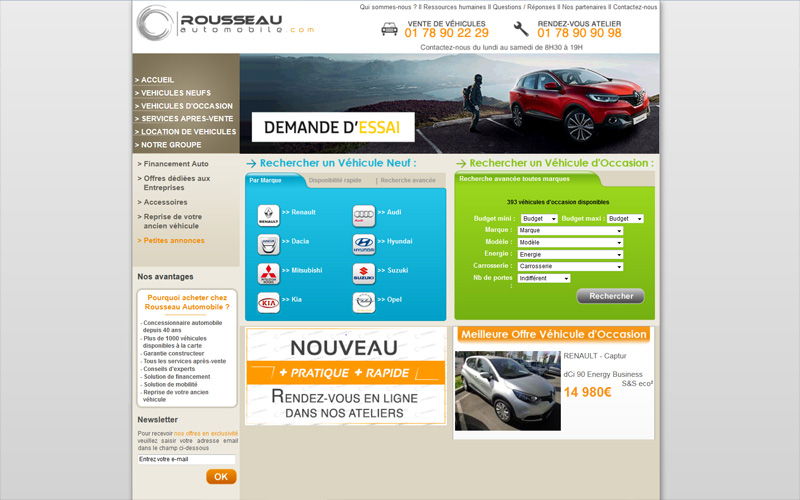 Site internet pour concessionnaire automobile, Rousseau automobile