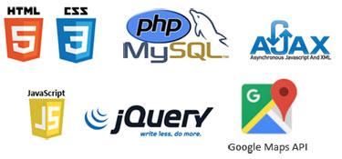 Technologies création site internet : PHP/Mysql, HTML5, CSS3, Ajax, jQuery, XML, Google Maps API