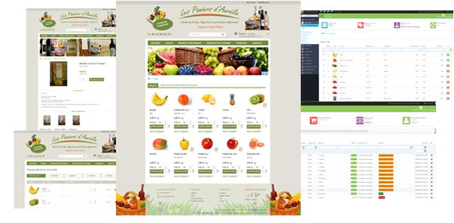 Création boutique e-commerce : boutique en ligne de vente de produits frais / bio et produits régionaux, réalisée sous Prestashop