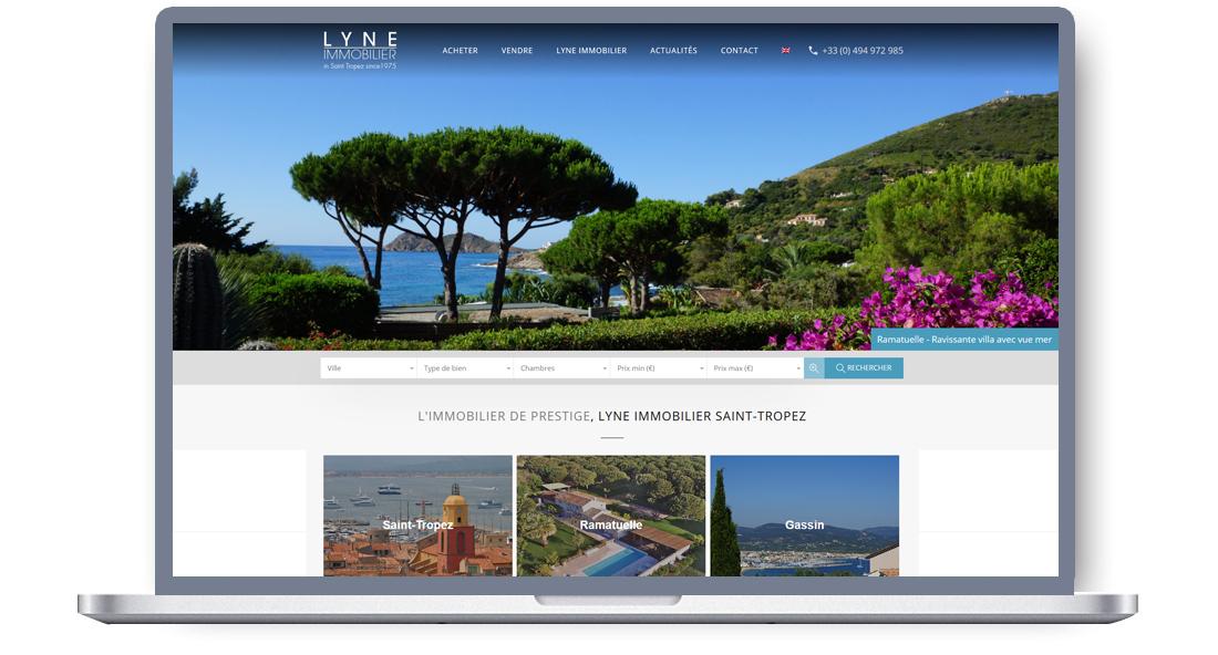 Site internet responsive pour agence immobilière Lyne Immobilier, Saint-Tropez